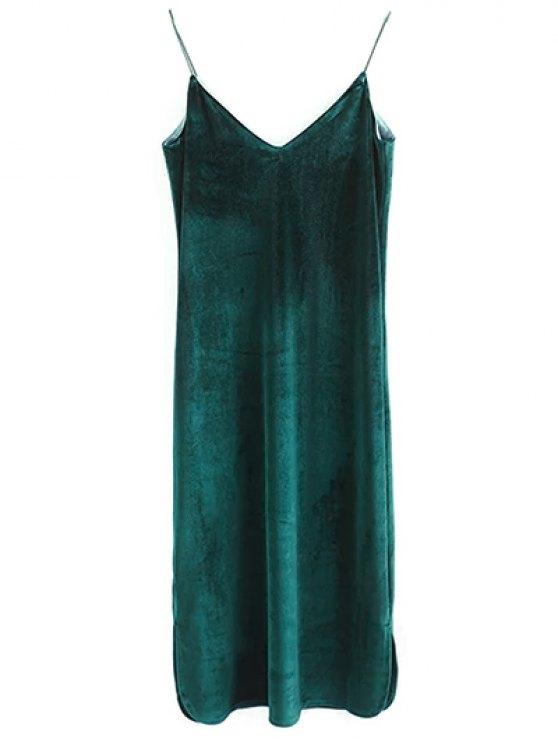 Elastic Strap Midi Velvet Dress - BLACKISH GREEN M Mobile