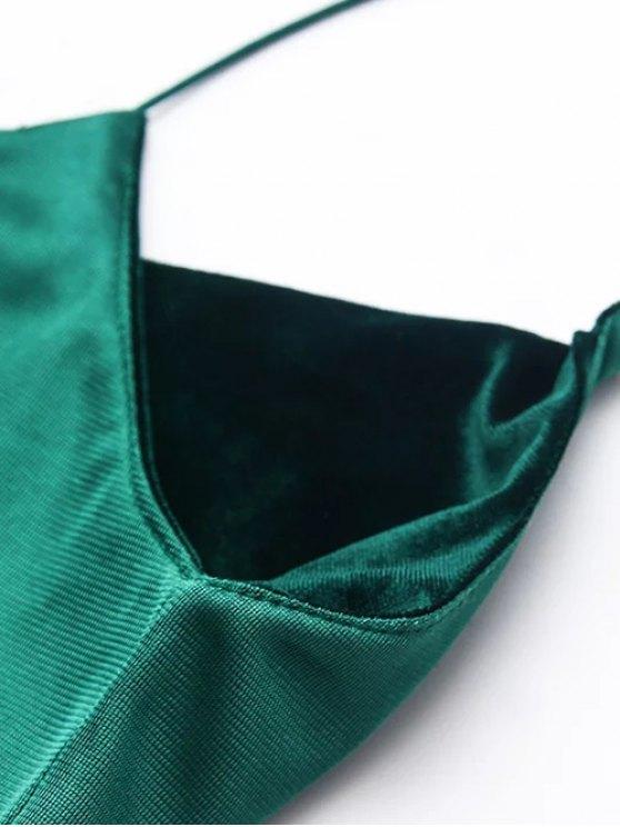 Elastic Strap Midi Velvet Dress - CADETBLUE M Mobile