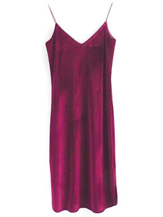 Elastic Strap Midi Velvet Dress - WINE RED M Mobile