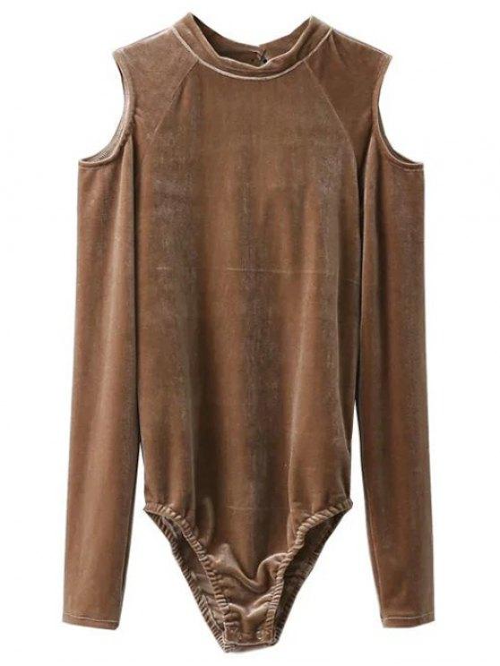 Snap Gousset Cutout épaule Velvet Bodysuit - Kaki L