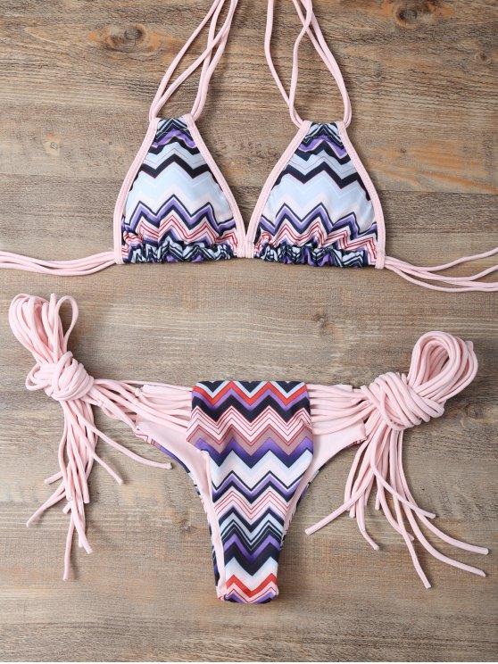 Halter Zig Zag Stringy Bikini Set - COLORMIX L Mobile