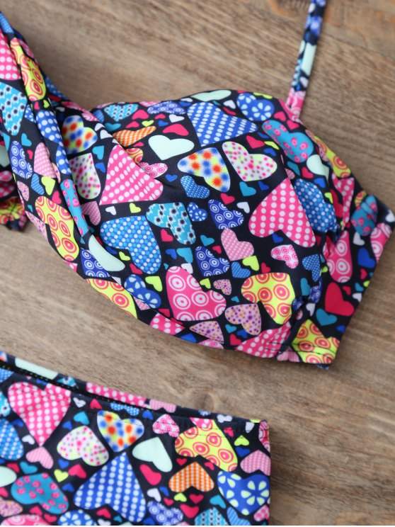 High Waisted Halter Heart Pattern Bikini - COLORMIX L Mobile