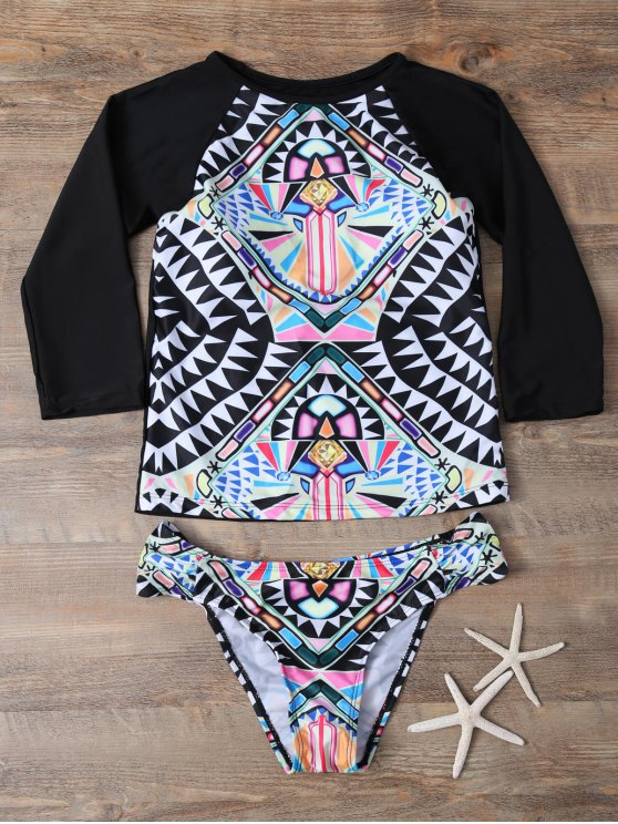 Tribal Print Cropped Rashguard Bikini Set - BLACK M Mobile
