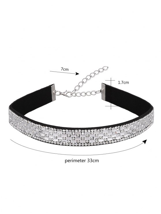 Artificial Leather Rhinestoned Choker - WHITE  Mobile