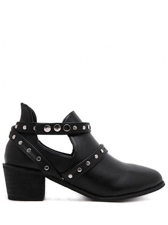 Snaps Cross Strap Closure Studded Ankle Boots - BLACK 37 Mobile