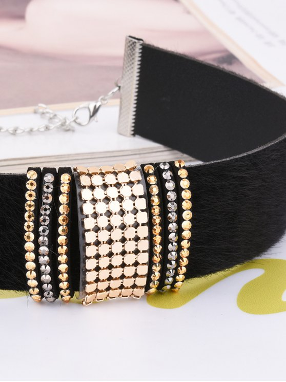 Adorn PU Leather Velvet Choker - BLACK  Mobile