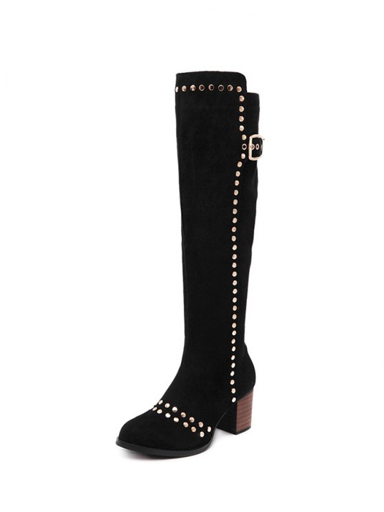 Zipper Studded Buckle Strap Knee High Boots - BLACK 39 Mobile