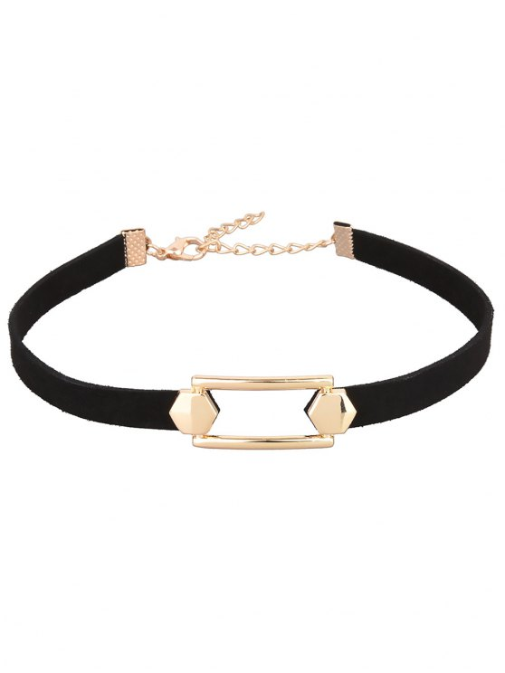 Hollow Out PU Leather Velvet Choker - BLACK  Mobile