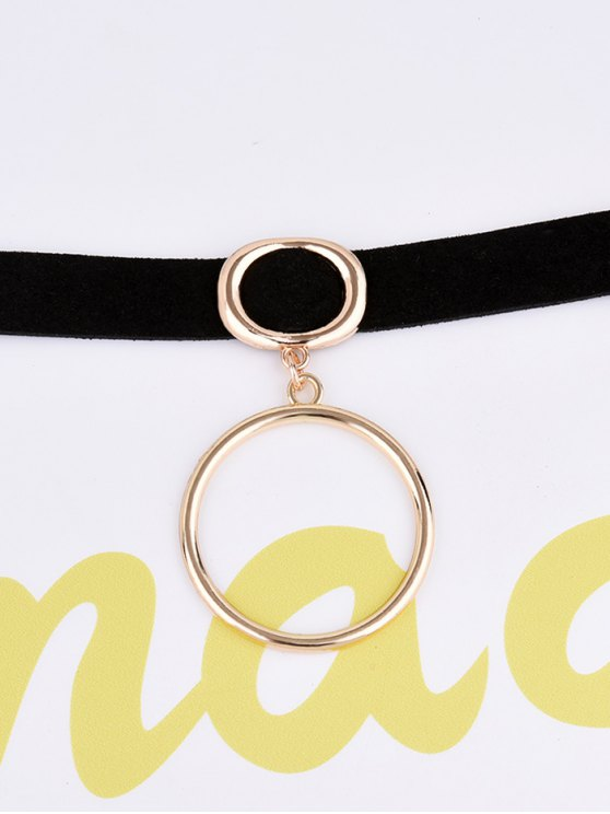 PU Leather Velvet Circle Choker - BLACK  Mobile