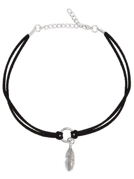 PU Leather Velvet Feather Choker Necklace -   Mobile