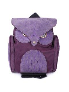 Stylish Owl Shape Solid Color Design Women Shoulder Satchel - Purple