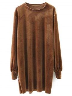 Long Sleeve Velvet Straight Dress - Brown S