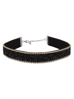 Faux Leather Rhinestone Velvet Choker Necklace - Black
