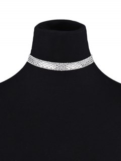 Artificial Leather Rhinestoned Choker - White