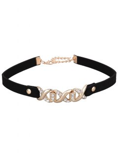 Rhinestone Infinite Faux Leather Velvet Choker - Black