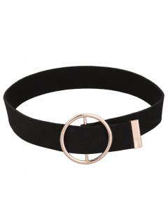 Round Faux Leather Choker Necklace - Black