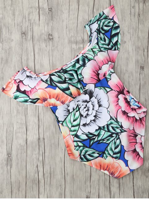 womens Square Neck Floral Print One Piece Swimsuit - FLORAL XL Mobile