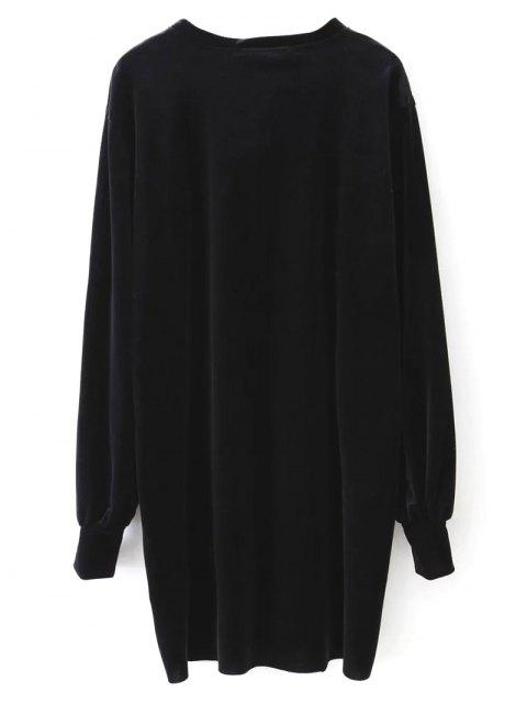 womens Long Sleeve Velvet Straight Dress - BLACK L Mobile
