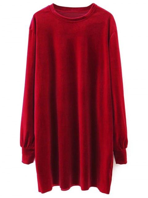 best Long Sleeve Velvet Straight Dress - RED S Mobile