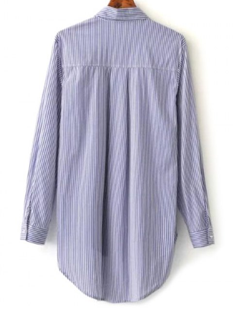 shop Embroidered High-Low Stripe Shirt - BLUE M Mobile