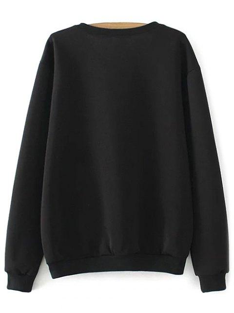 fashion Plus Size Print Sweatshirt - BLACK 3XL Mobile
