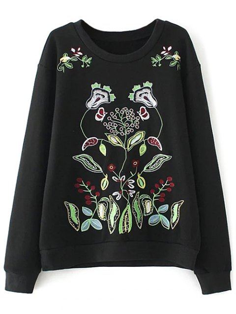 sale Casual Embroidered Plus Size Sweatshirt - BLACK 2XL Mobile