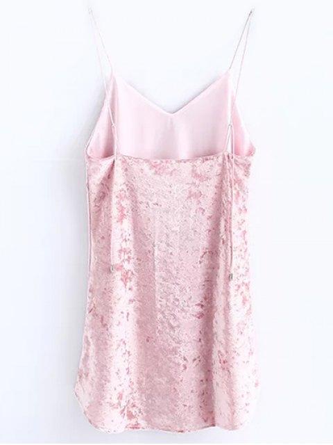 unique Crushed Velvet Cami Dress - PINK S Mobile