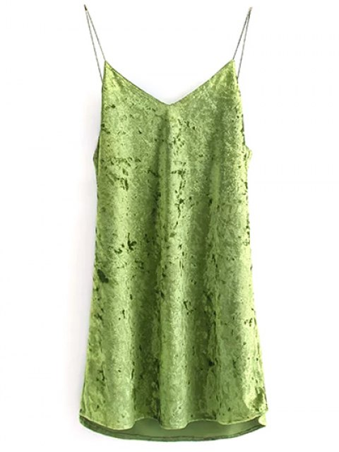 shop Crushed Velvet Cami Dress - GREEN S Mobile