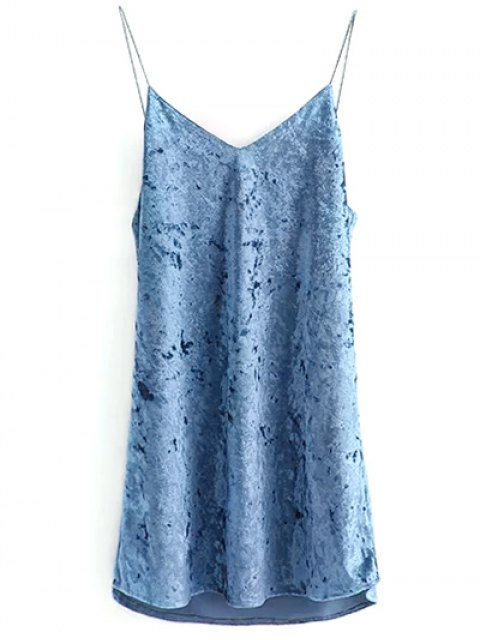 fashion Crushed Velvet Cami Dress - LIGHT BLUE S Mobile