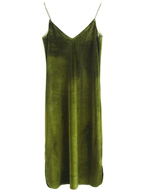 women's Elastic Strap Midi Velvet Dress - OLIVE GREEN M Mobile