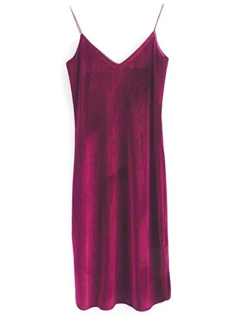 shop Elastic Strap Midi Velvet Dress - WINE RED S Mobile