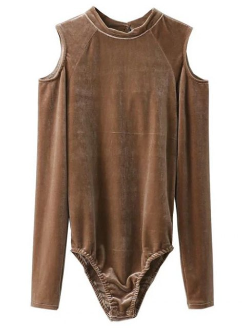 women Snap Gusset Cutout Shoulder Velvet Bodysuit - KHAKI L Mobile