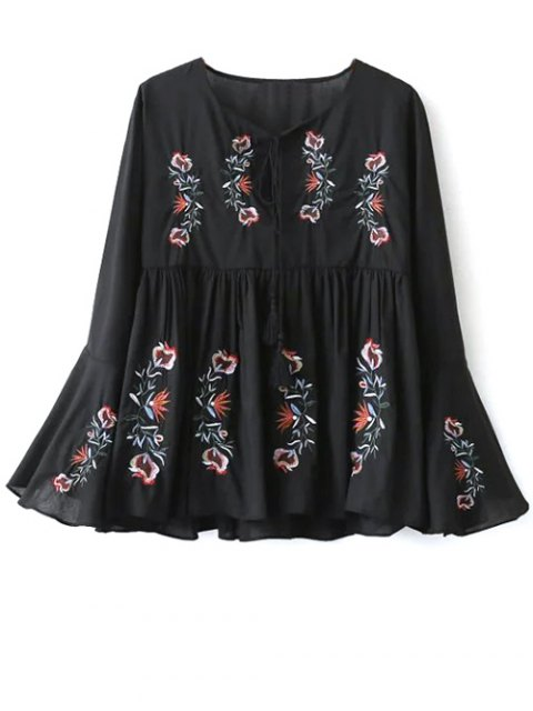 unique Embroidered Bell Sleeve Babydoll Blouse - BLACK M Mobile