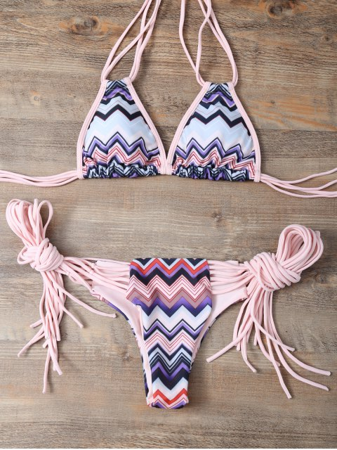women Halter Zig Zag Stringy Bikini Set - COLORMIX M Mobile