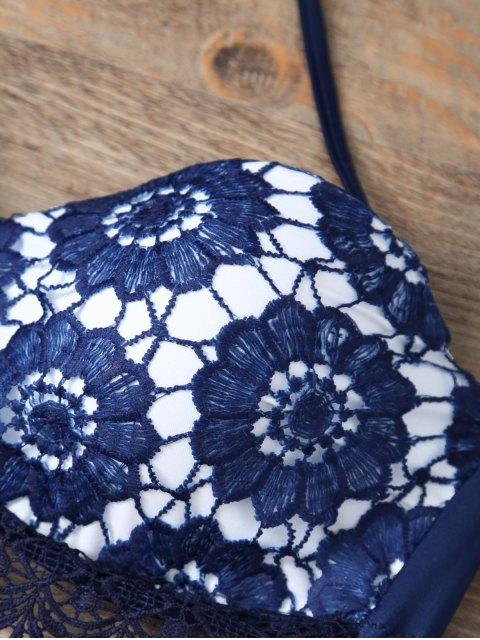 latest Halter Lace Printed String Bikini - BLUE M Mobile