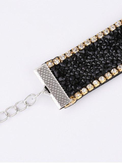 ladies Faux Leather Rhinestone Velvet Choker Necklace - BLACK  Mobile