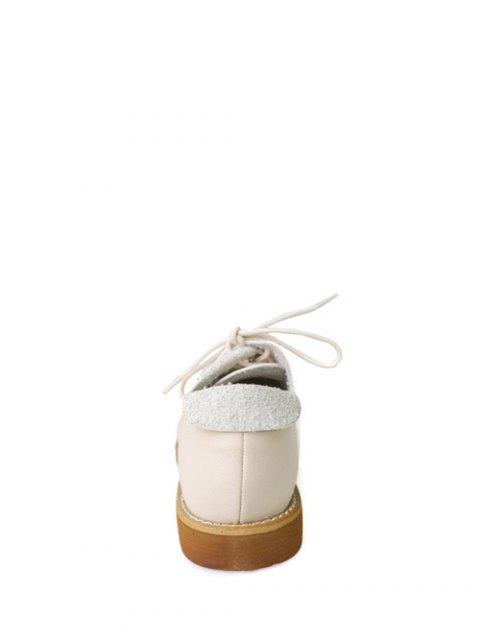 unique Stitching Tie Up Round Toe Flat Shoes - APRICOT 39 Mobile
