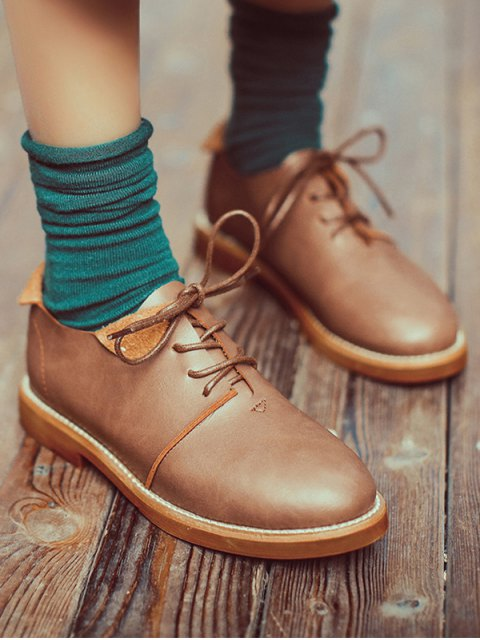 women Stitching Tie Up Round Toe Flat Shoes - LIGHT BROWN 38 Mobile