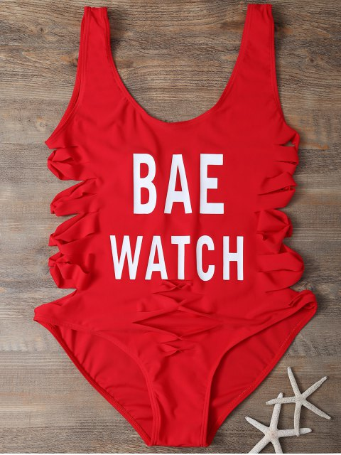 best Cut Out Bae Watch Swimwear - RED M Mobile
