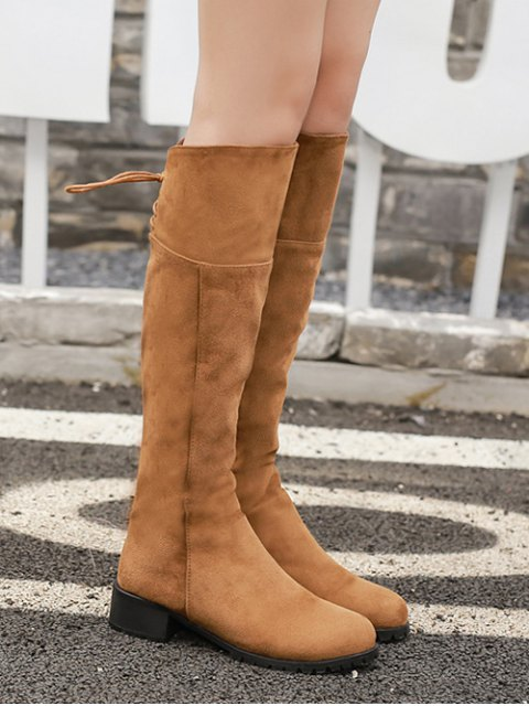 online Round Toe Lace Up Chunky Heel Boots - LIGHT BROWN 37 Mobile
