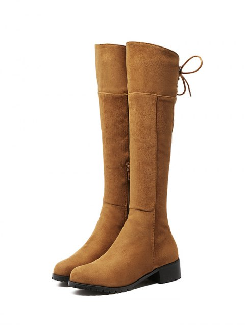 new Round Toe Lace Up Chunky Heel Boots - LIGHT BROWN 38 Mobile