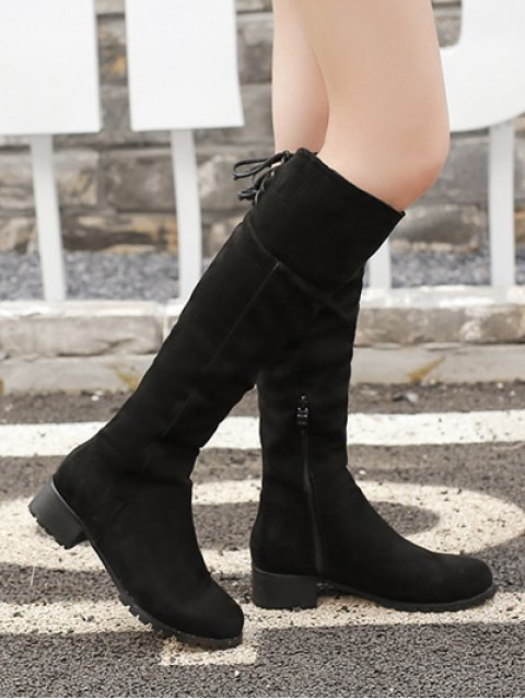 hot Round Toe Lace Up Chunky Heel Boots - BLACK 39 Mobile