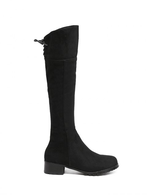 outfits Round Toe Lace Up Chunky Heel Boots - BLACK 38 Mobile