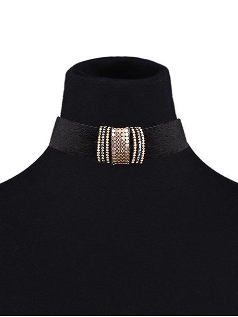 new Adorn PU Leather Velvet Choker - BLACK  Mobile