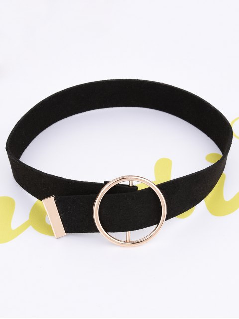 outfit Round Faux Leather Choker Necklace - BLACK  Mobile