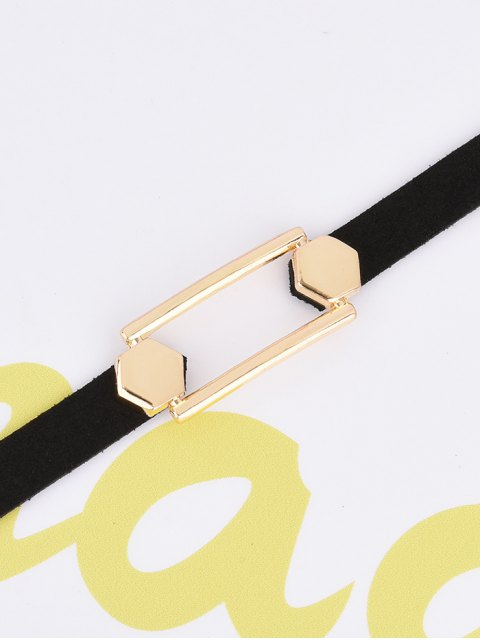 shop Hollow Out PU Leather Velvet Choker - BLACK  Mobile
