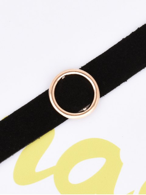 latest Round Faux Leather Velvet Choker Necklace -   Mobile