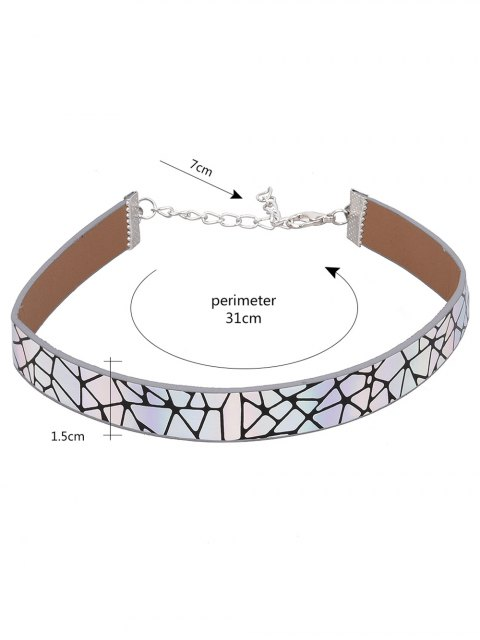 trendy PU Leather Geometric Printed Choker Necklace - COLORMIX  Mobile