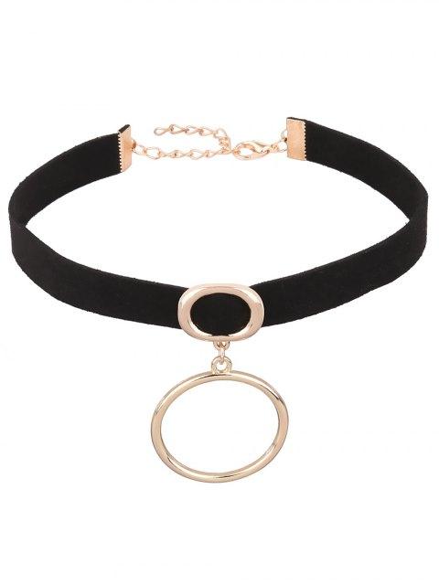fashion PU Leather Velvet Circle Choker - BLACK  Mobile