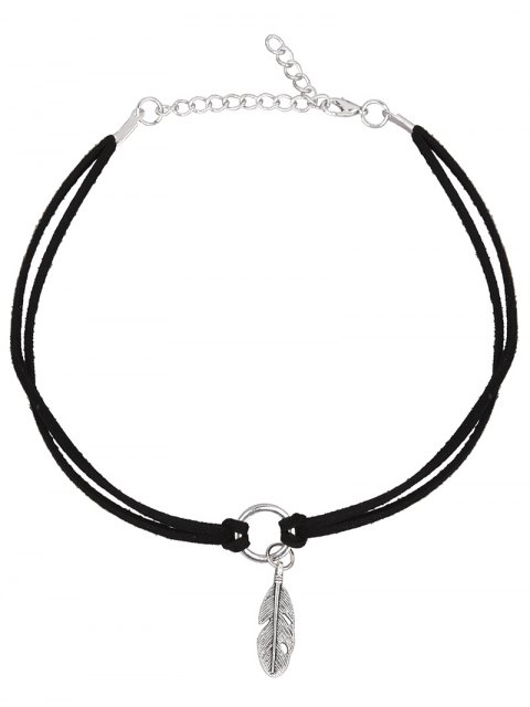fancy PU Leather Velvet Feather Choker Necklace -   Mobile